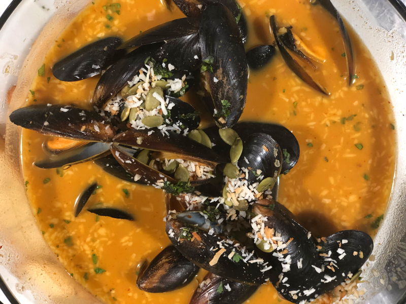 Pumpkin Coconut Curry Mussels