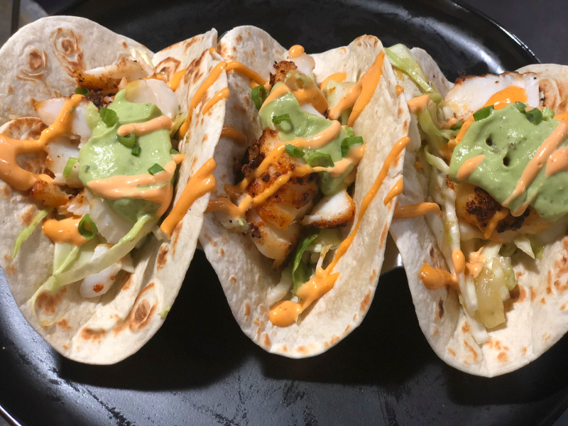 Dry-Rubbed Fish Tacos with Tomatillo-Avocado Slaw